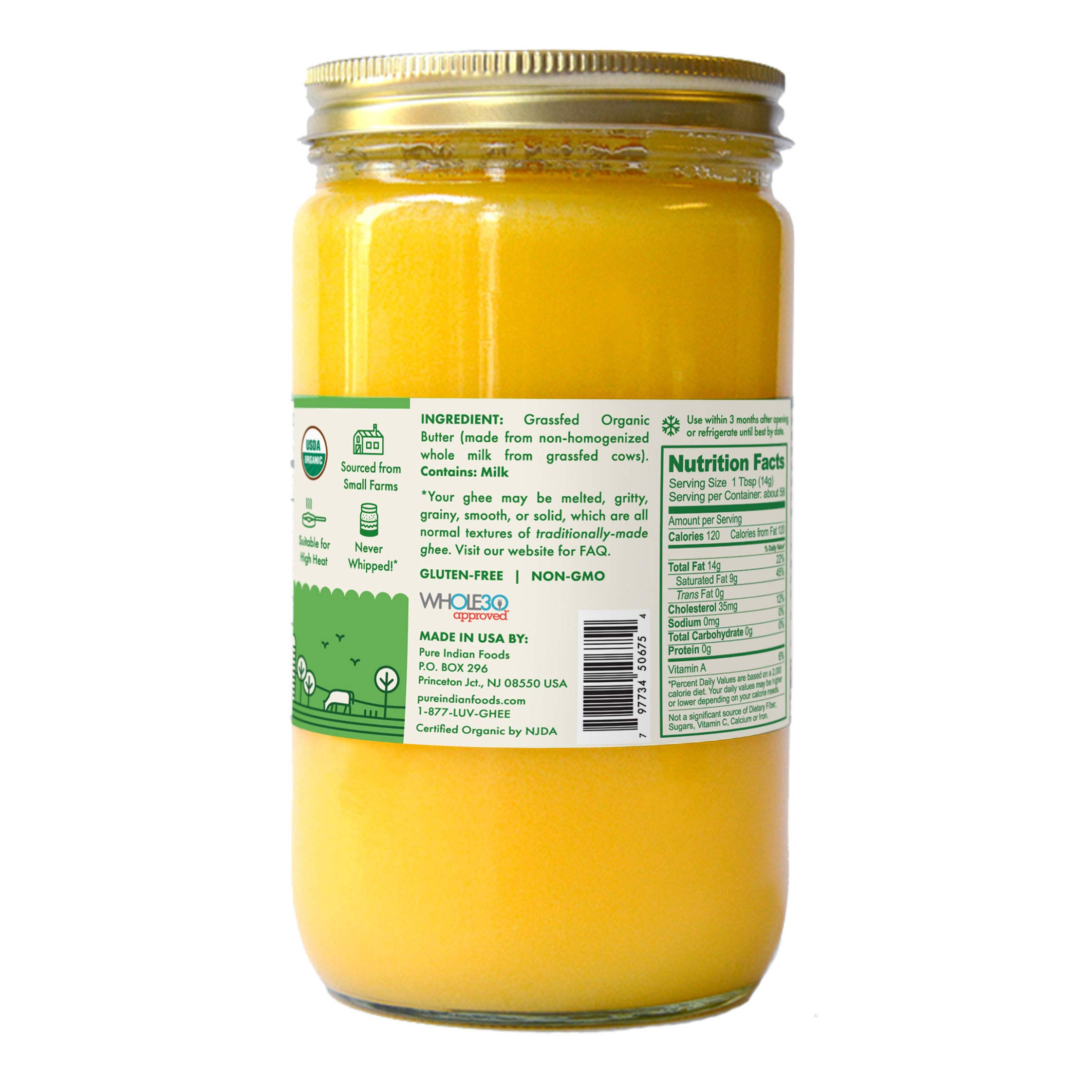 Grassfed 100% Organic Ghee 28.8 oz (One Quart or 32 fl oz) by Pure Indian Foods (Image #3)
