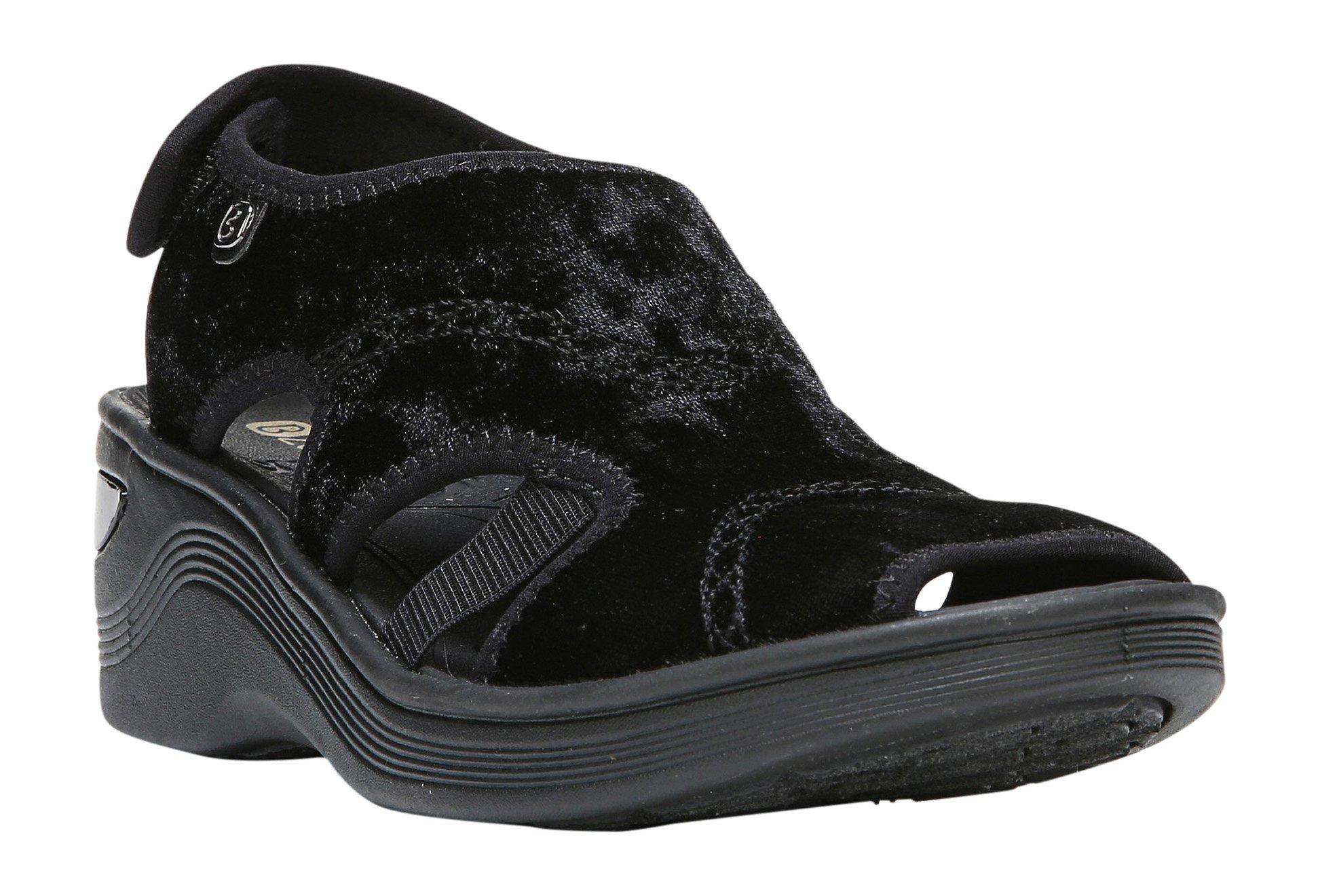 BZees Drama Womens Black Velvet Wedge Comfort Sandals (10 US, Medium)