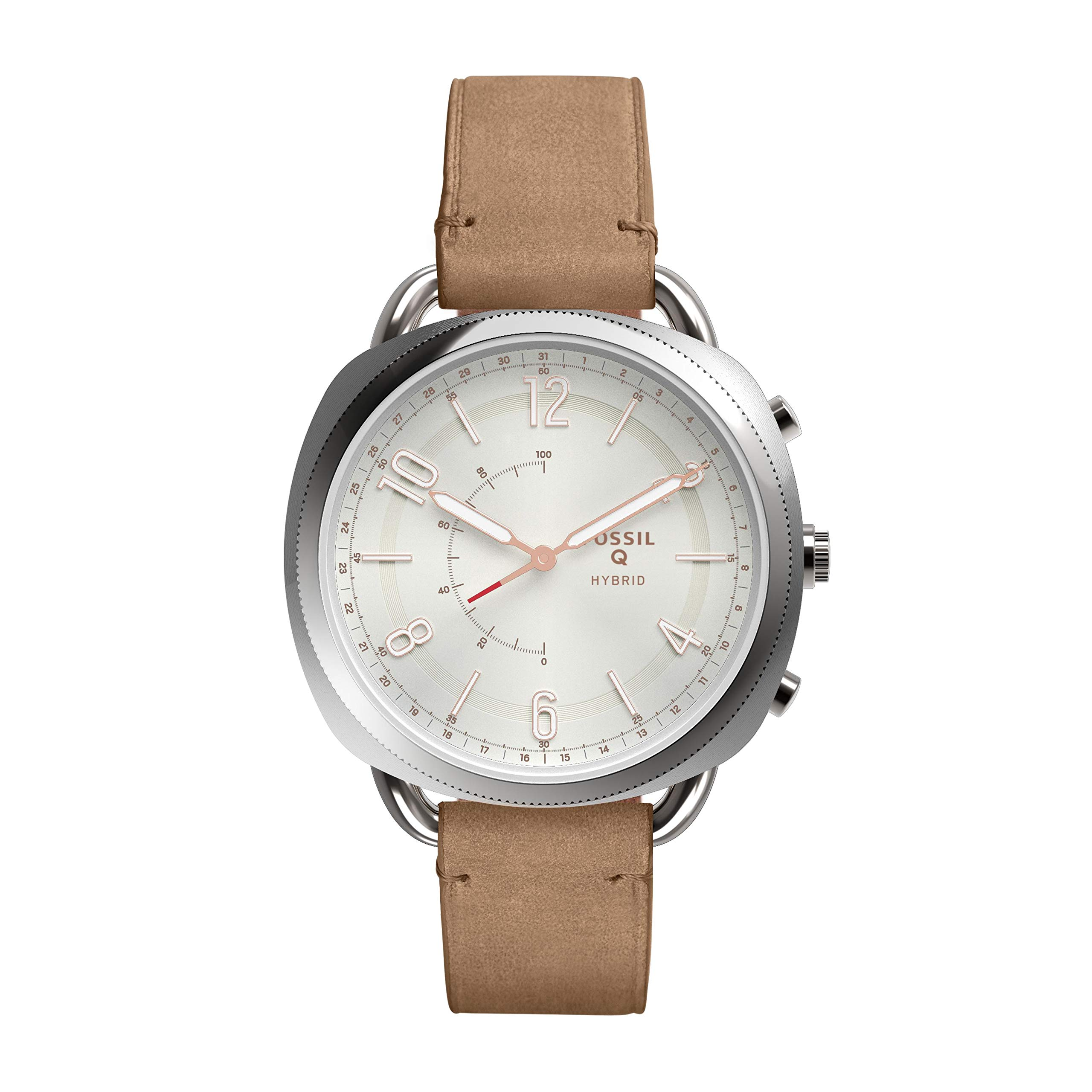 Fossil Women's Accomplice Stainless Steel and Leather Hybrid Smartwatch, Color: Silver, Brown (Model: FTW1200) by Fossil