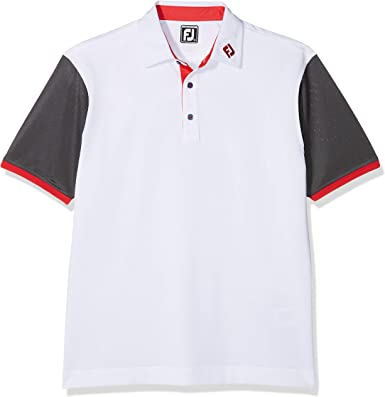 Footjoy Pique Striped Colour Block Polo de Manga Corta de Golf ...