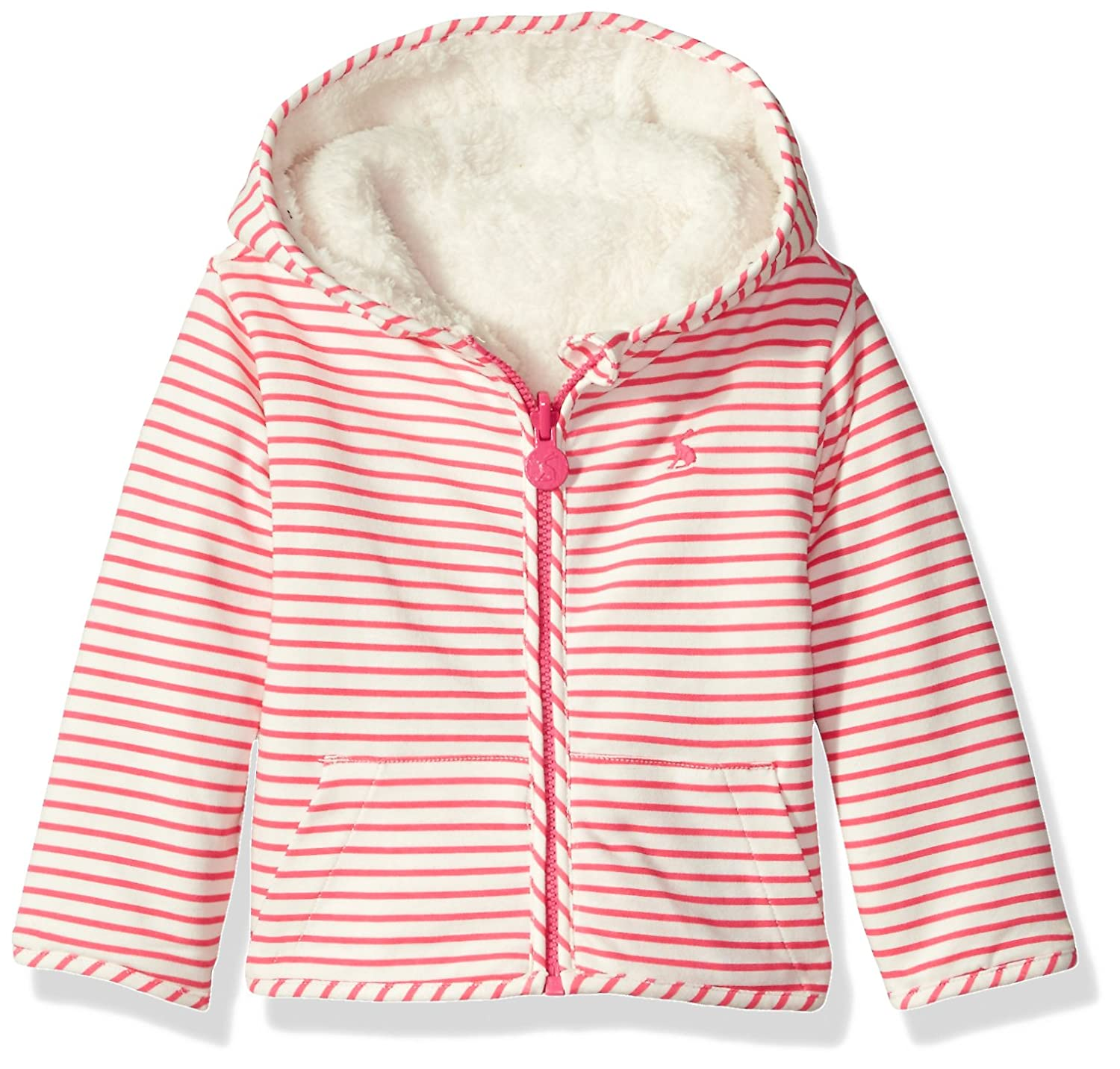 Joules Baby Reversible Zip Fleece - True Pink Stripe