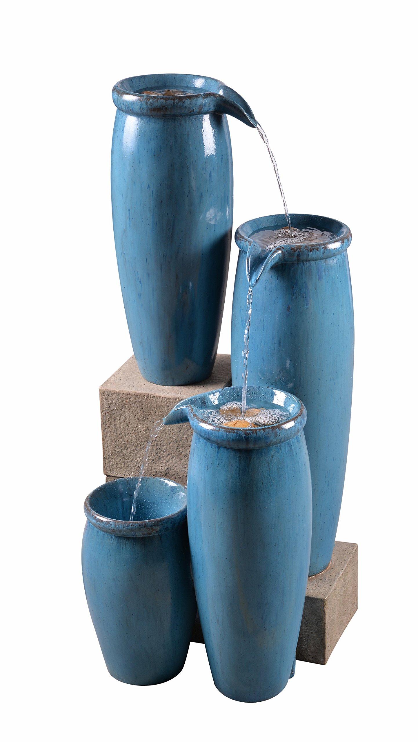 Kenroy Home 51029BLU Vessel Floor Fountain, Blue