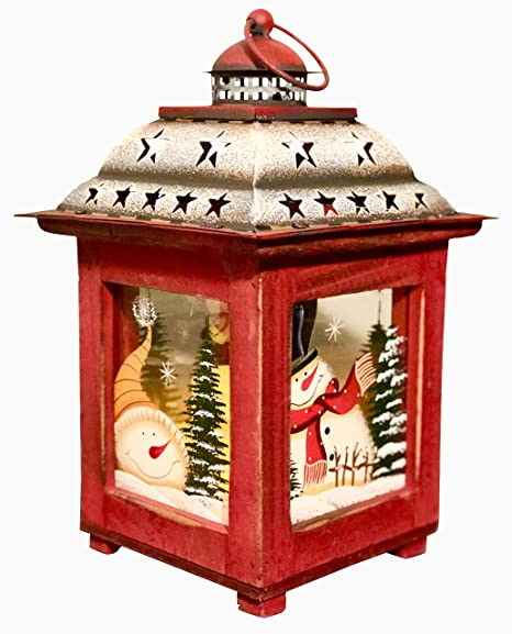 Clovers Garden 10 5 Christmas Wooden Snowman Lantern Decoration Vintage Red Decorative Holiday Table Centerpiece Or Hanging Lantern For Pillar
