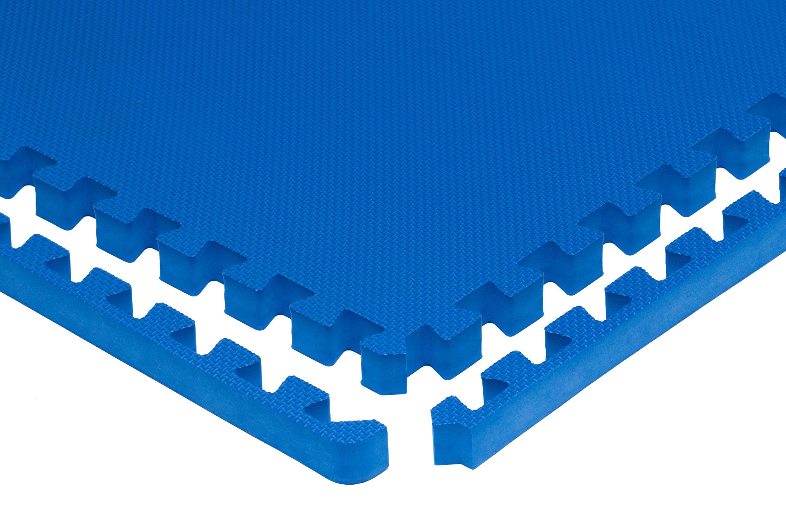"""Prosource Fit Extra Thick Puzzle Exercise Mat 1"""", EVA Foam Interlocking Tiles for Protective, Cushioned Workout Flooring for Home and Gym Equipment, Blue by ProsourceFit (Image #2)"""