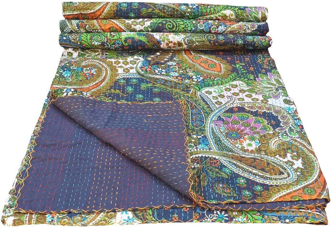 colors of rajasthan Indian Kantha Blanket, Bed Cover, King Kantha Bedspread, Bohemian Bedding Kantha Hippie Quilts (Purple)