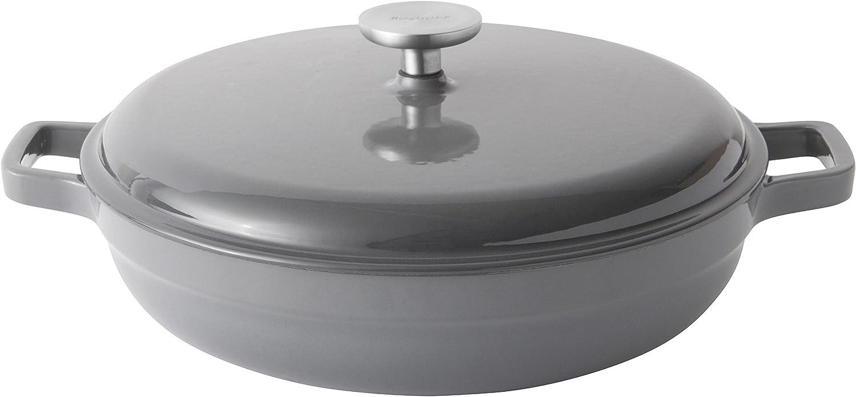 Berghoff Cocotte Baja de Hierro Fundido esmaltado 28 cm-3.7 L, Gris