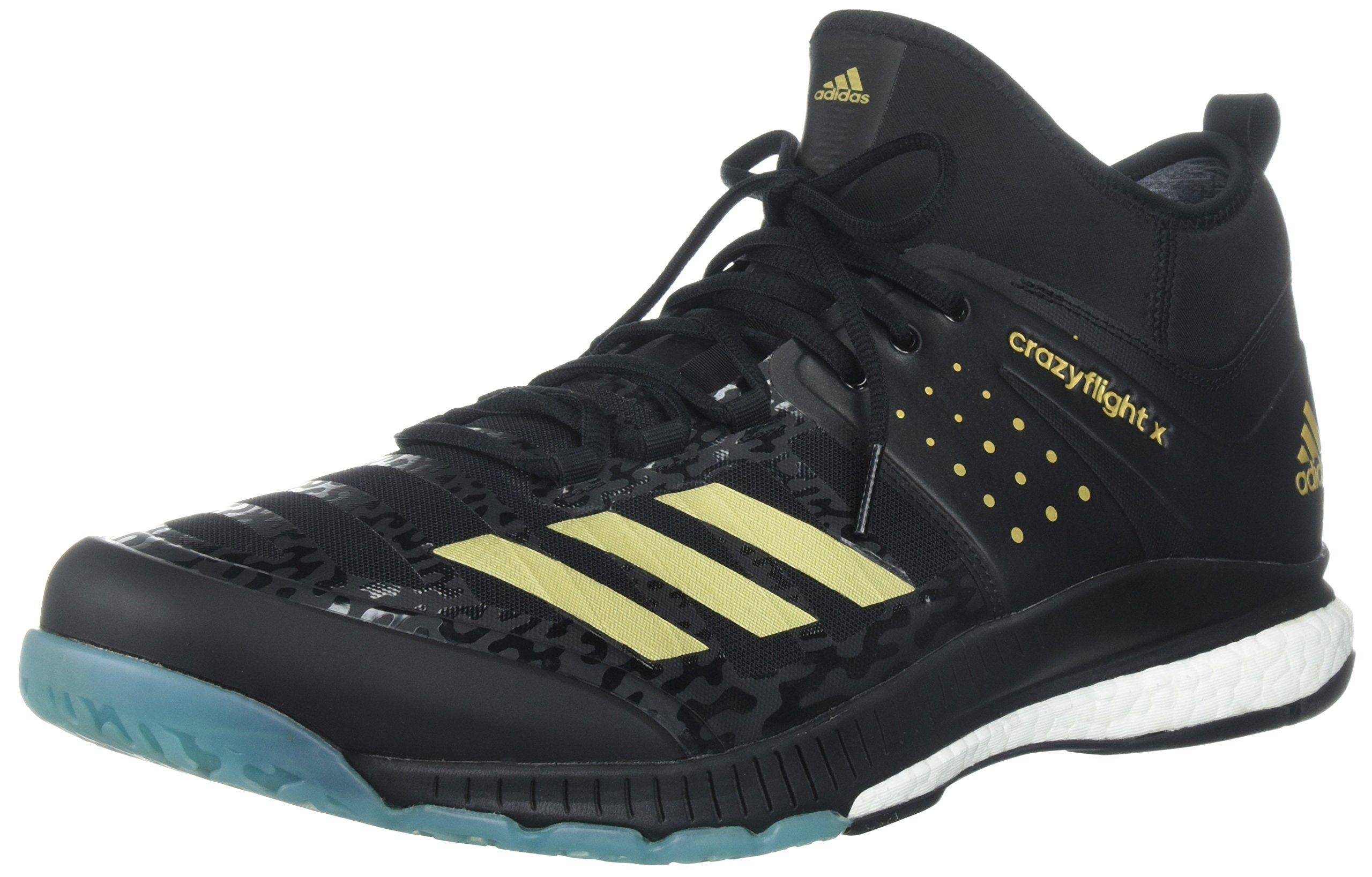 adidas Performance Men's Crazyflight X Mid Volleyball Shoes, Core Black/Gold Met/Icey Blue, 16 M US by adidas