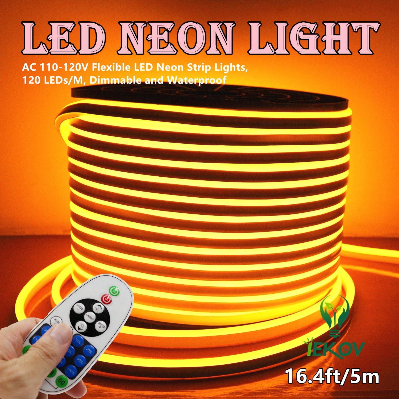 LED NEON Light 120 LEDs//M 16.4ft//5m, White Waterproof 2835 SMD LED Rope Light Controller Power Cord for Home Decoration IEKOV/™ AC 110-120V Flexible LED Neon Strip Lights