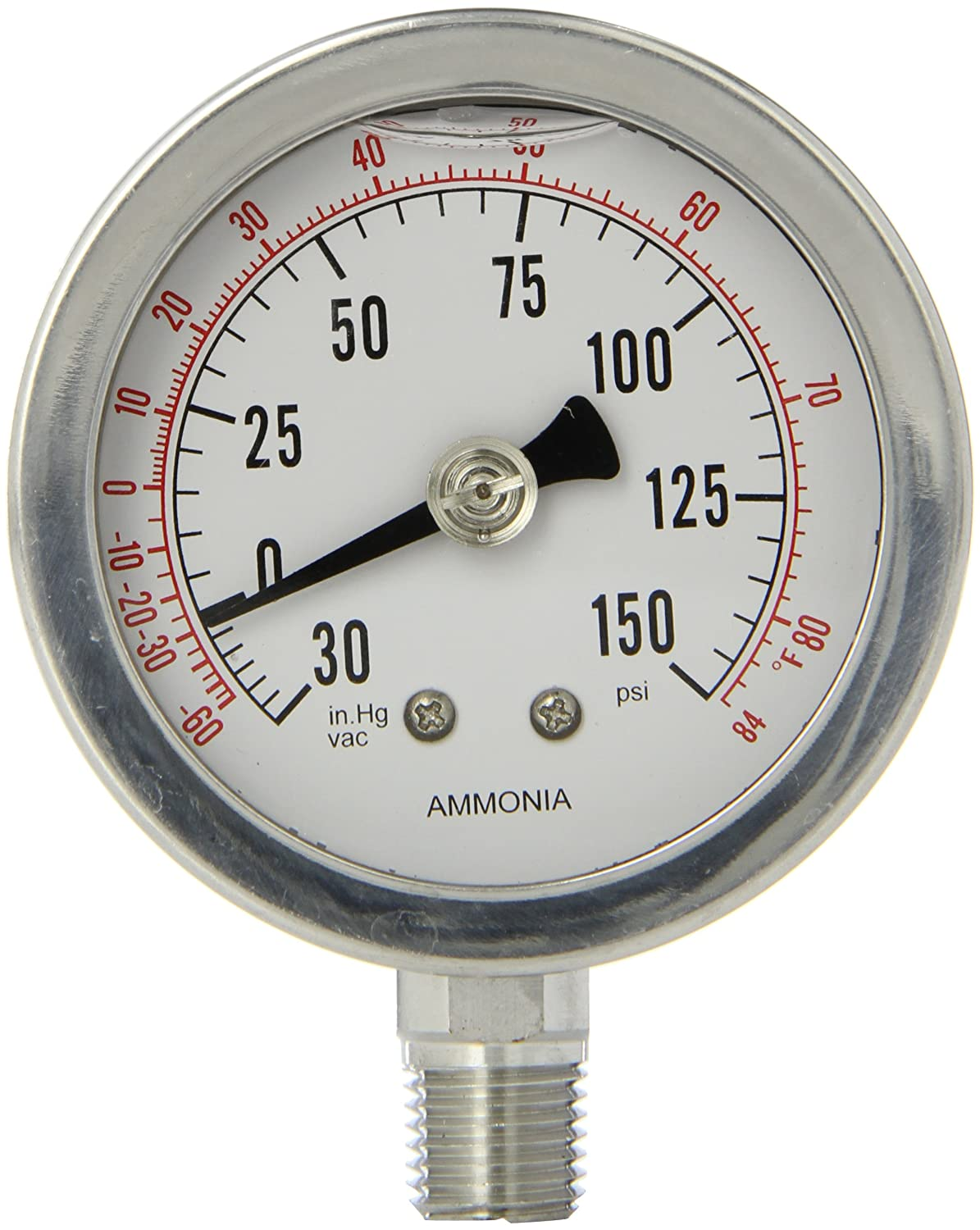 Bottom Mount with a Back Flange 1//4 Male NPT Connection Size 316 Stainless Steel Internals Dry//Fillable Ammonia Gauges with a Stainless Steel Case 30//0//300 psi and -100//0//125⁰F Range and Tempered Glass Lens PIC Gauge AMMONIA-604RCH  6 Dial