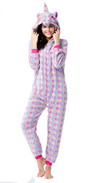 CozofLuv Pijama Animal Unicornio Entero para Adultos Pijama Mono Animal para Mujer Hombre Disfraz para Navidad con Capucha Invierno Franela