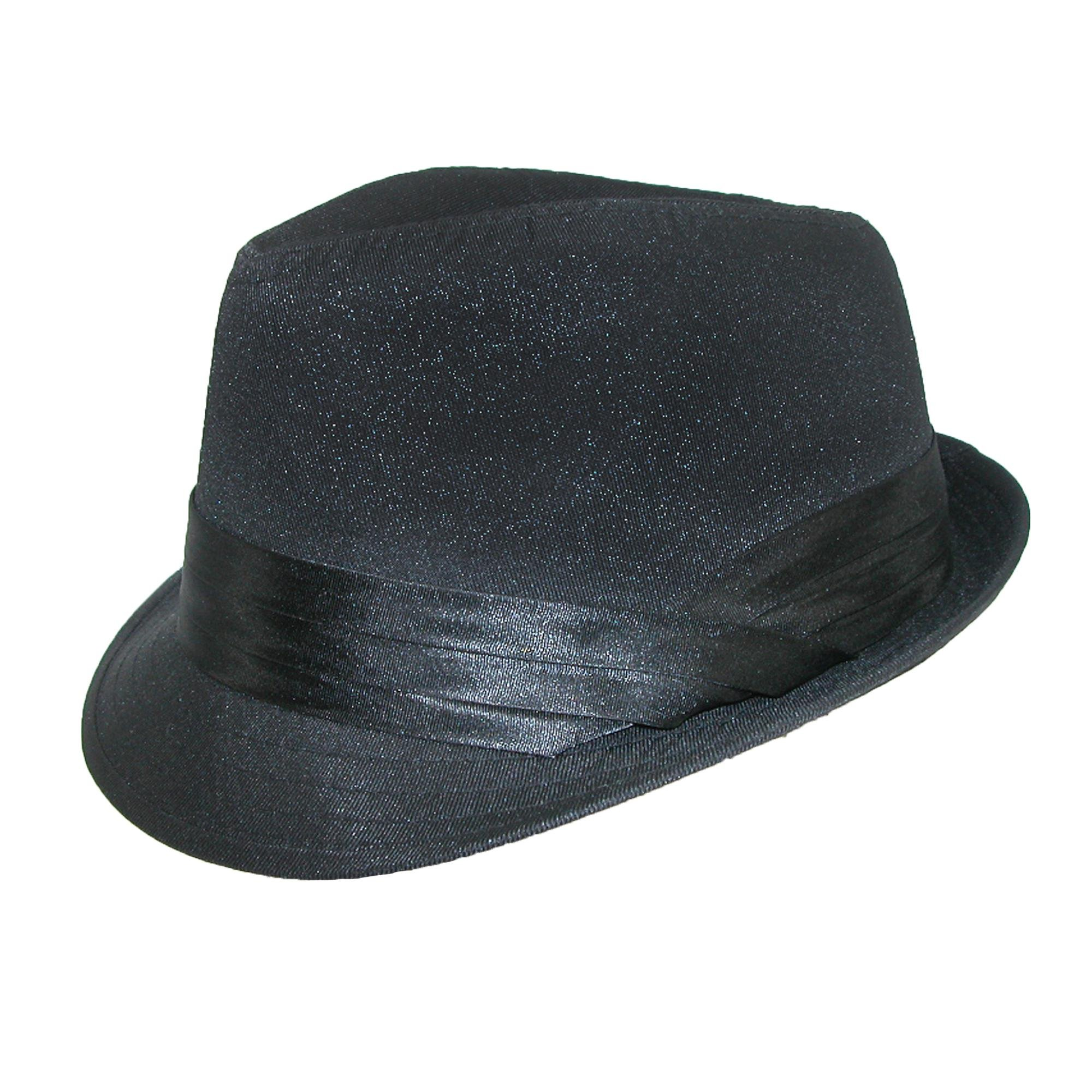 Kenny K Men's Wedding Dress Formal Fedora Hat, Large, Black on Black