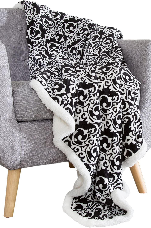 Bedford Home 61A-01669 Fleece Sherpa Blanket Throw-Black/White