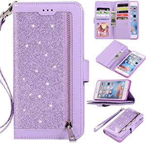 EYZUTAK Wallet Case for iPhone 6 iPhone 6S,Magnetic Handbag Zipper Pocket PU Leather Flip with 9 Card Slots and Wrist Strap Folio TPU Inner Stand Case for iPhone 6/6S - Purple