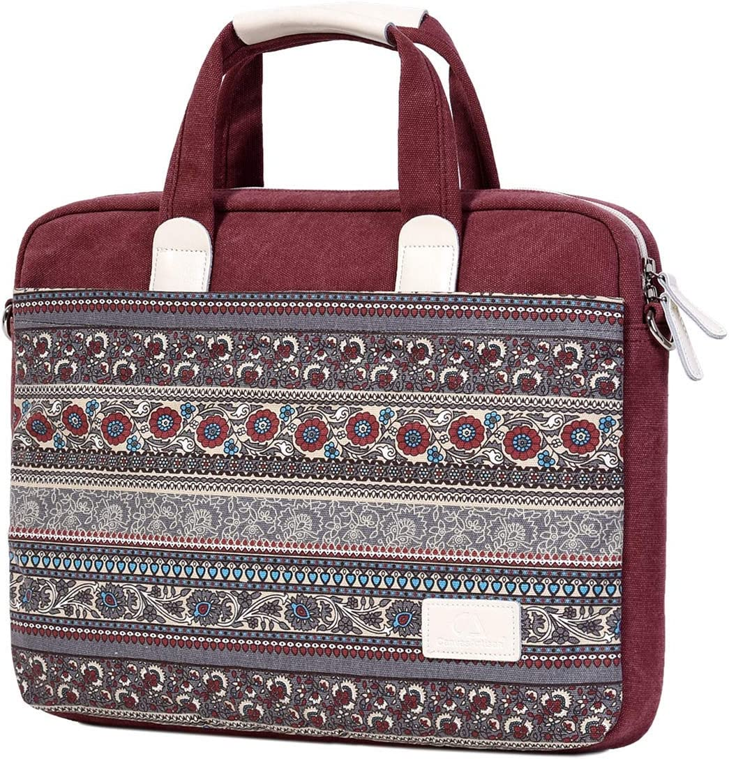 Wxnow Women 15.6 Inch Laptop Tote Bag Notebook Shoulder Messenger Bag Multi-Pocket Canvas Business Work Office Briefcase for Computer Wine Red