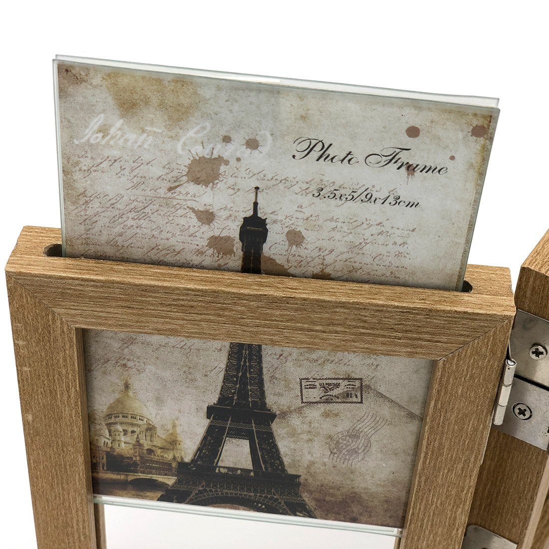 INEYMALL Wooden Photo Frame Folding 3 Stage Photo Frame With Glass 3.5x5 (beige) by INEYMALL (Image #4)