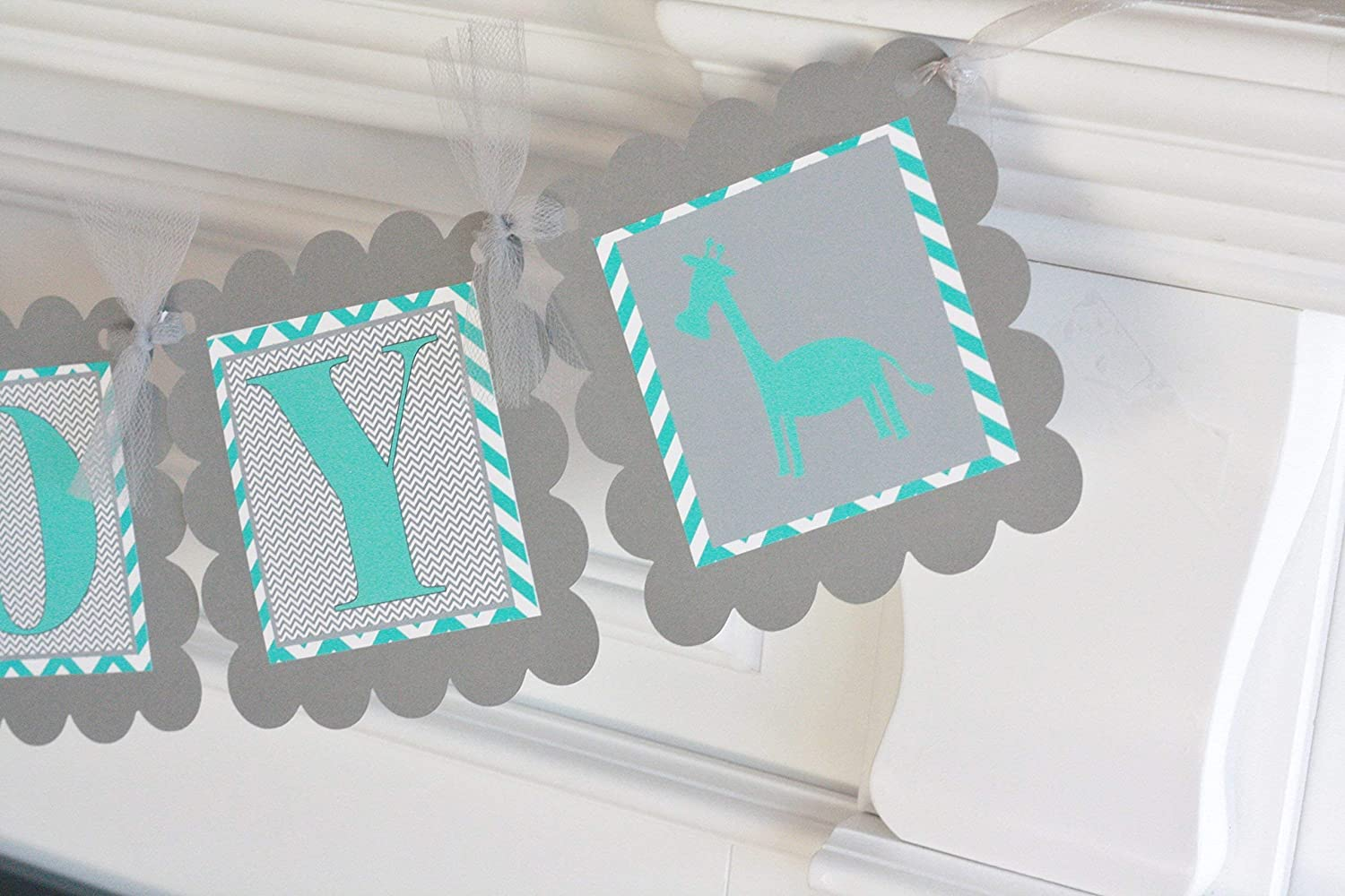 Favor Tags Giraffe Baby Shower Cupcake Toppers Turquoise Blue /& Grey Chevron Door Signs Available Party Packages Banners 12