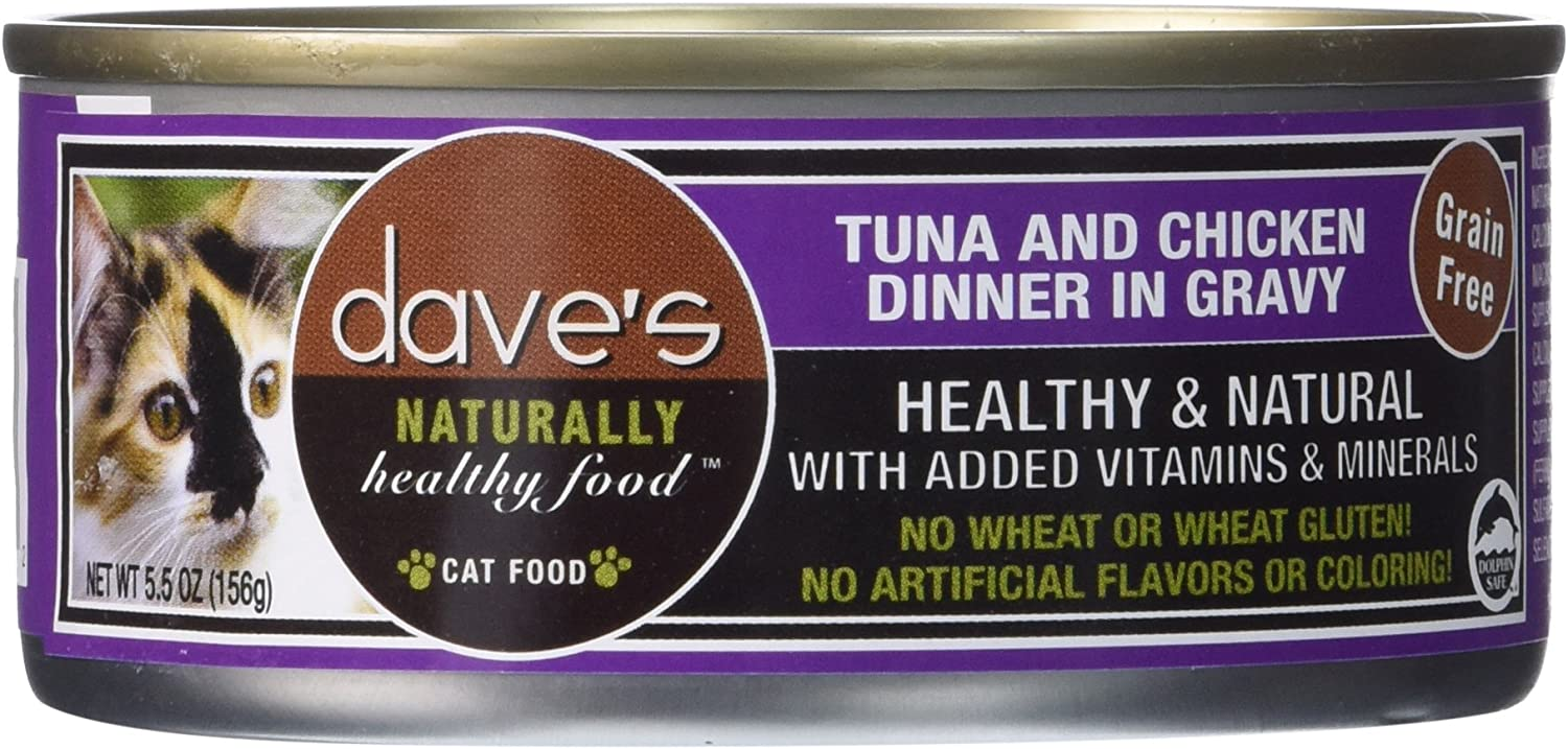 Dave'S Pet Food Tuna And Chicken In Gravy Food (24 Cans Per Case), 5.5 Oz.
