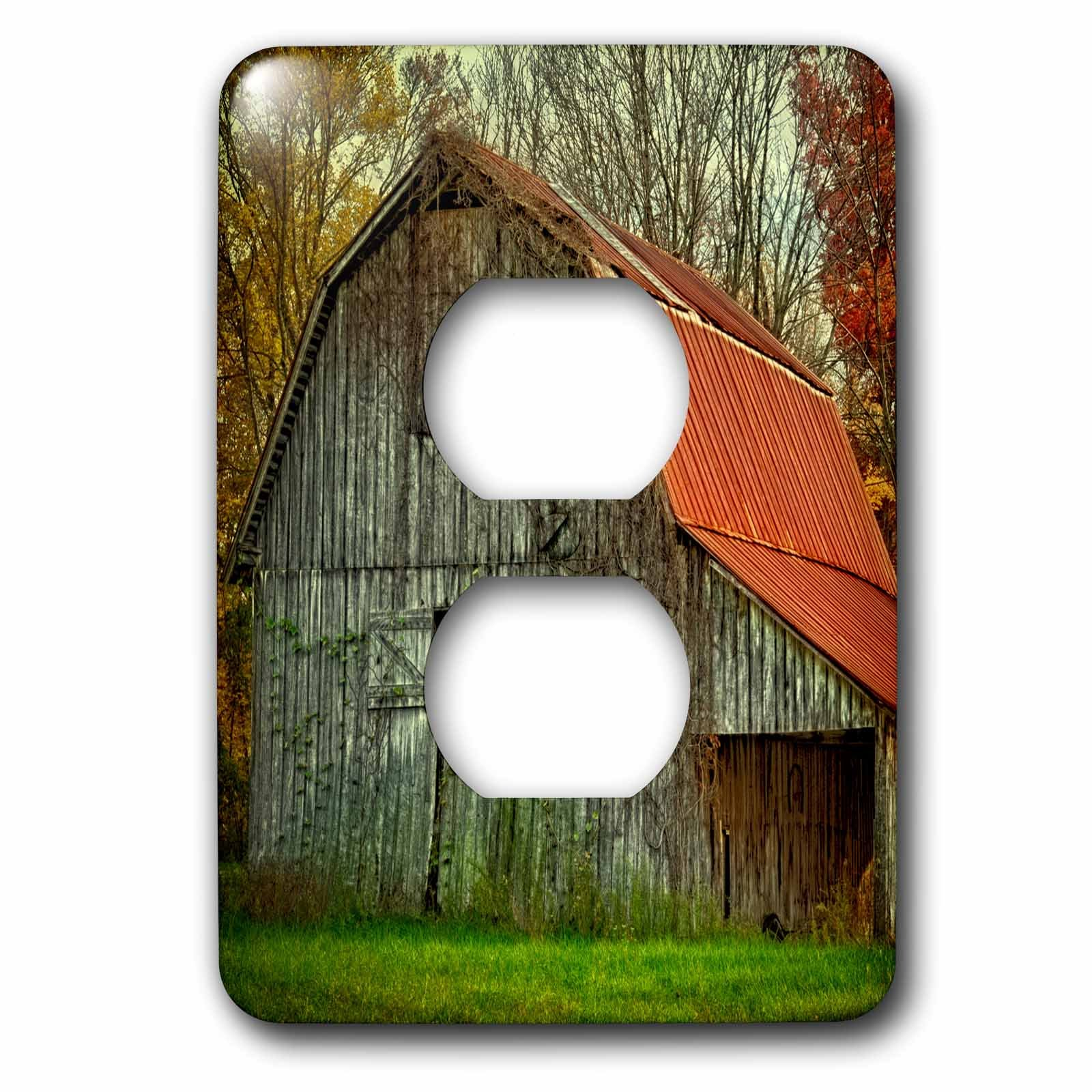 Danita Delimont - Rural - USA, Indiana. rural landscape, vine-covered barn with red roof - Light Switch Covers - 2 plug outlet cover (lsp_230816_6)