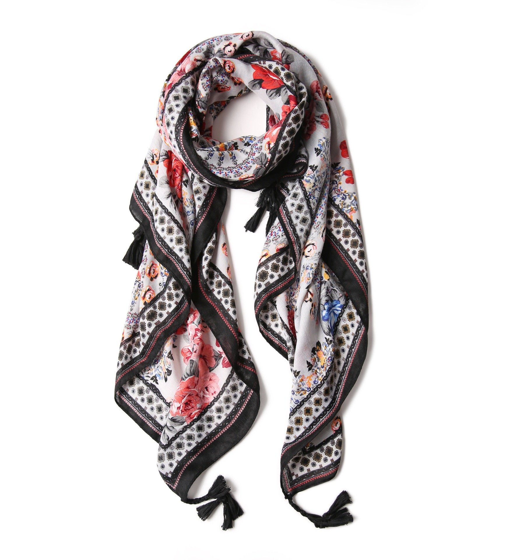 Light weight Large Scarf / Shawl Scarves And Wraps For Women (Black Floral)