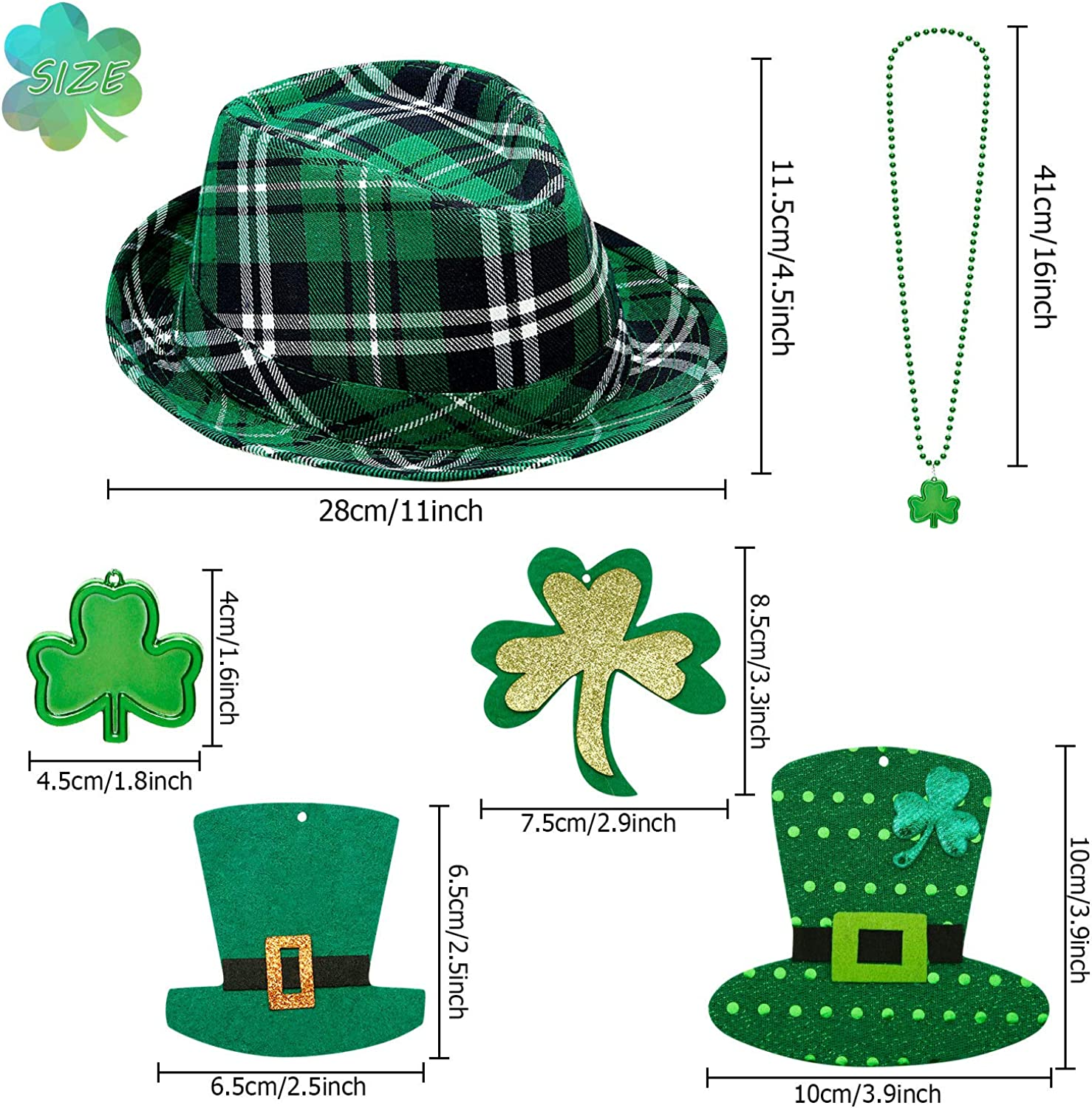 2 Pieces St Patricks Day Shamrock Necklace Green Bead Clover Necklace for Party Costume Accessory Patricks Day Hat Green Plaid Hat Irish Fabric Hat with 8 Pieces St