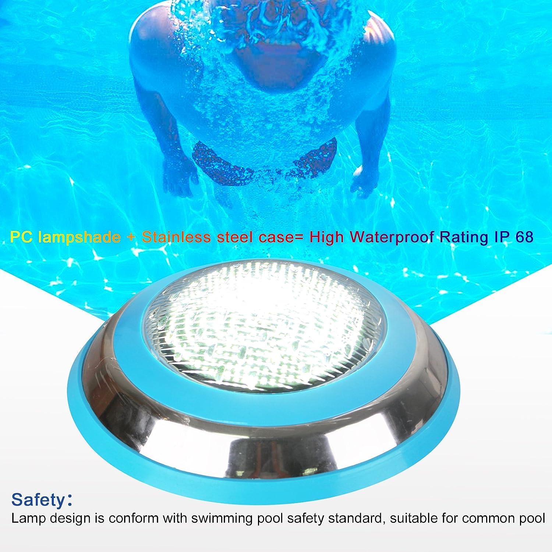 TOPLANET 48W Pool Led Licht Unterwasser Lampe Wei/ß Beleuchtung Wand Montiert Wasserdicht IP68 AC 12V f/ür Teiche