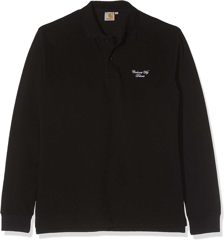 Carhartt L/S Hand Script Pique Polo T-Shirt, Negro (Black/White ...