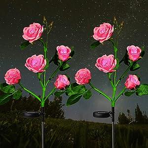 HeyMate Solar Garden Lights Outdoor 2 Pack Pink Solar Rose Flower Lights Waterproof with 10 Roses for Garden, Patio, Backyard, Pathway Decoration
