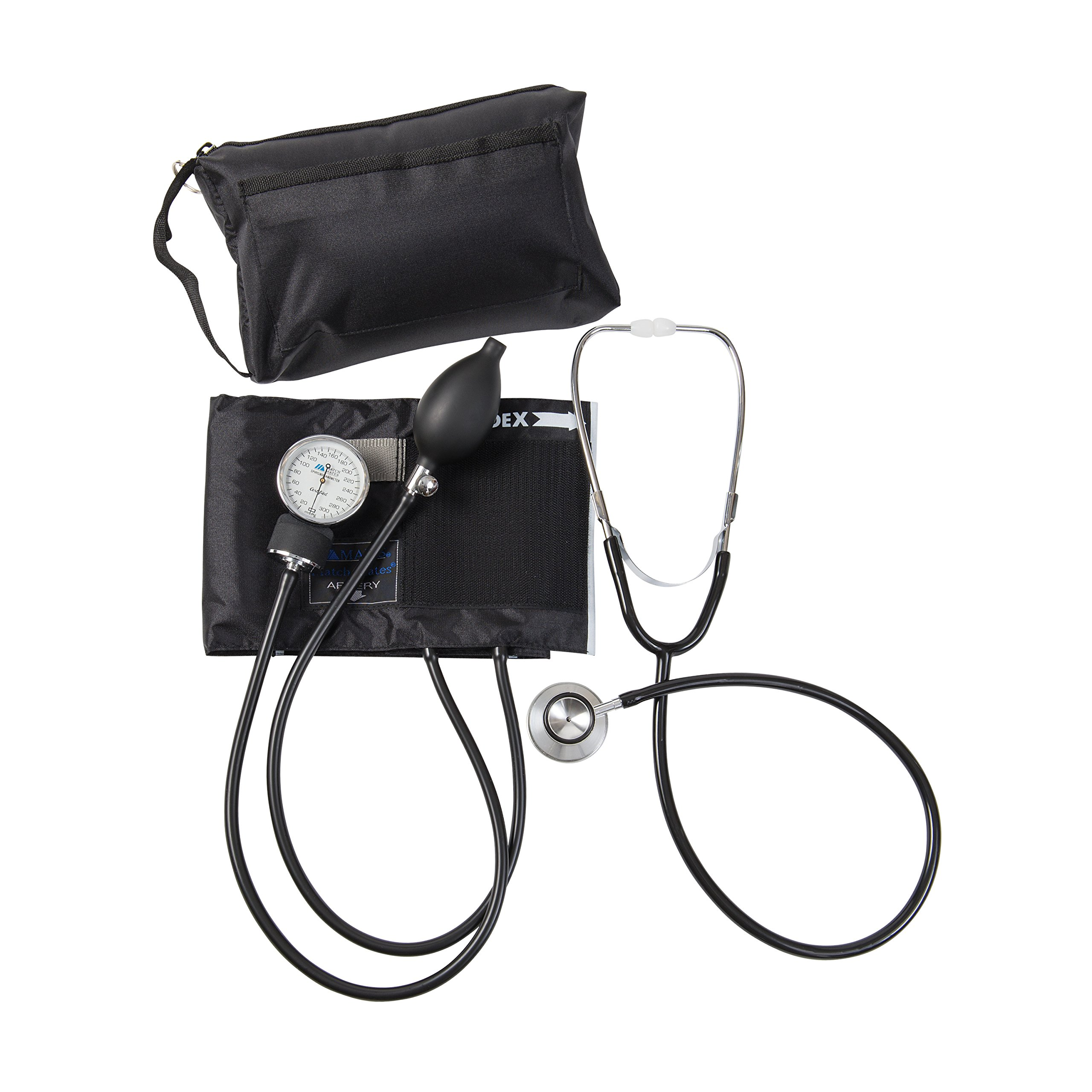 MABIS MatchMates Aneroid Sphygmomanometer and Dual Head Stethoscope Combination Home Blood Pressure Kit with Calibrated Nylon Cuff, Professional Quality, Carrying Case, Black