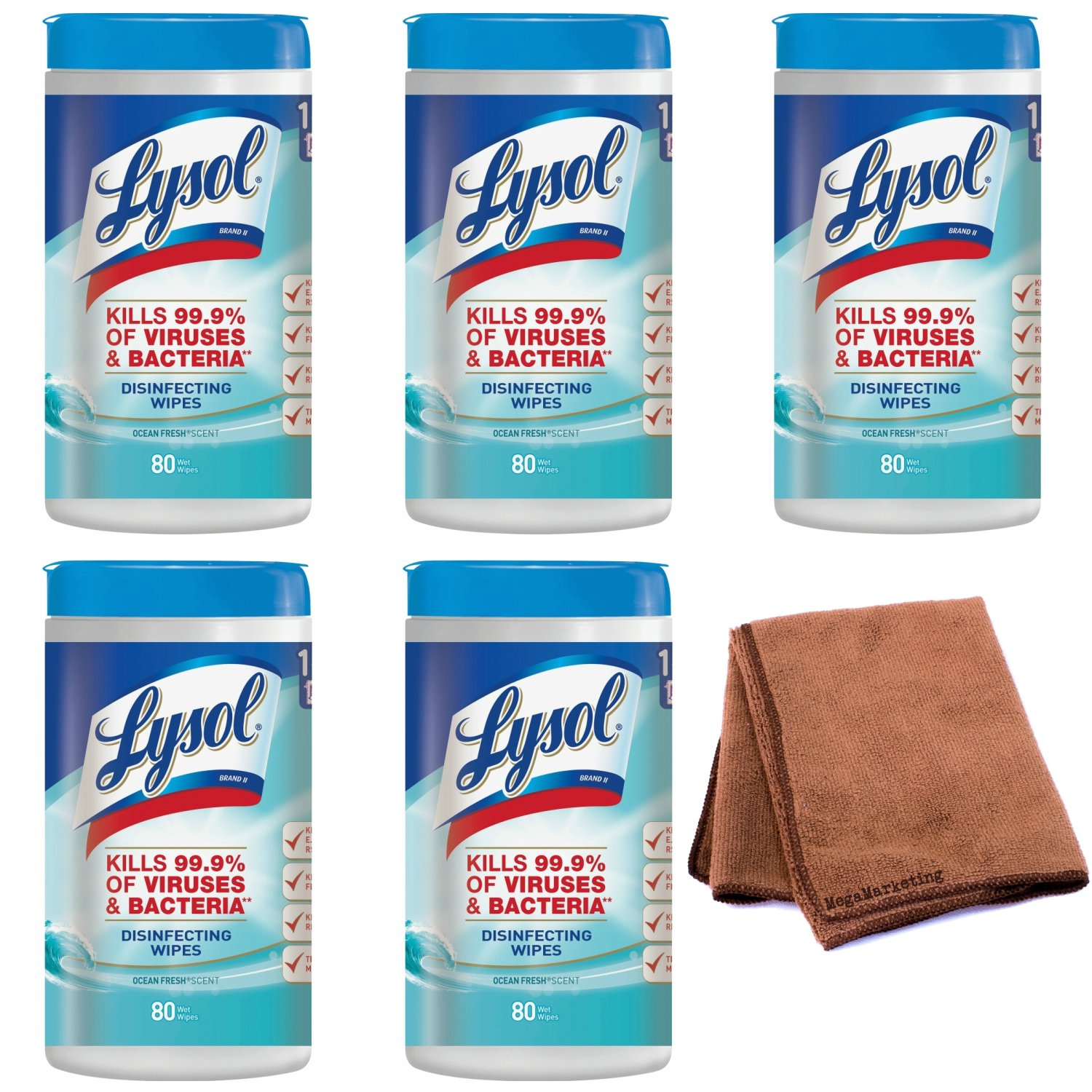 Lysol Disinfecting Wipes, Ocean Fresh, 400ct (5X80ct) with Cleaning Cloth