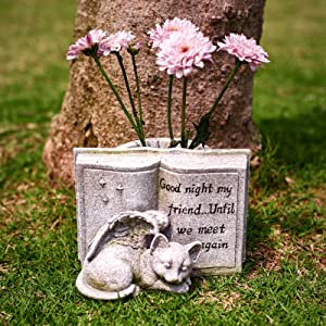 Small Cat Angel Memorial Stones, Sleeping Cat Headstones and Grave Markers Forever in Our Hearts. Cat Angel Figurine Outdoor Best for Deceased Pet Cat Polyresin, Stone Finish