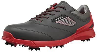 0a5b151465b ECCO Men's Base One Golf Shoe, Black/Scarlet Hydromax, 40 EU/6