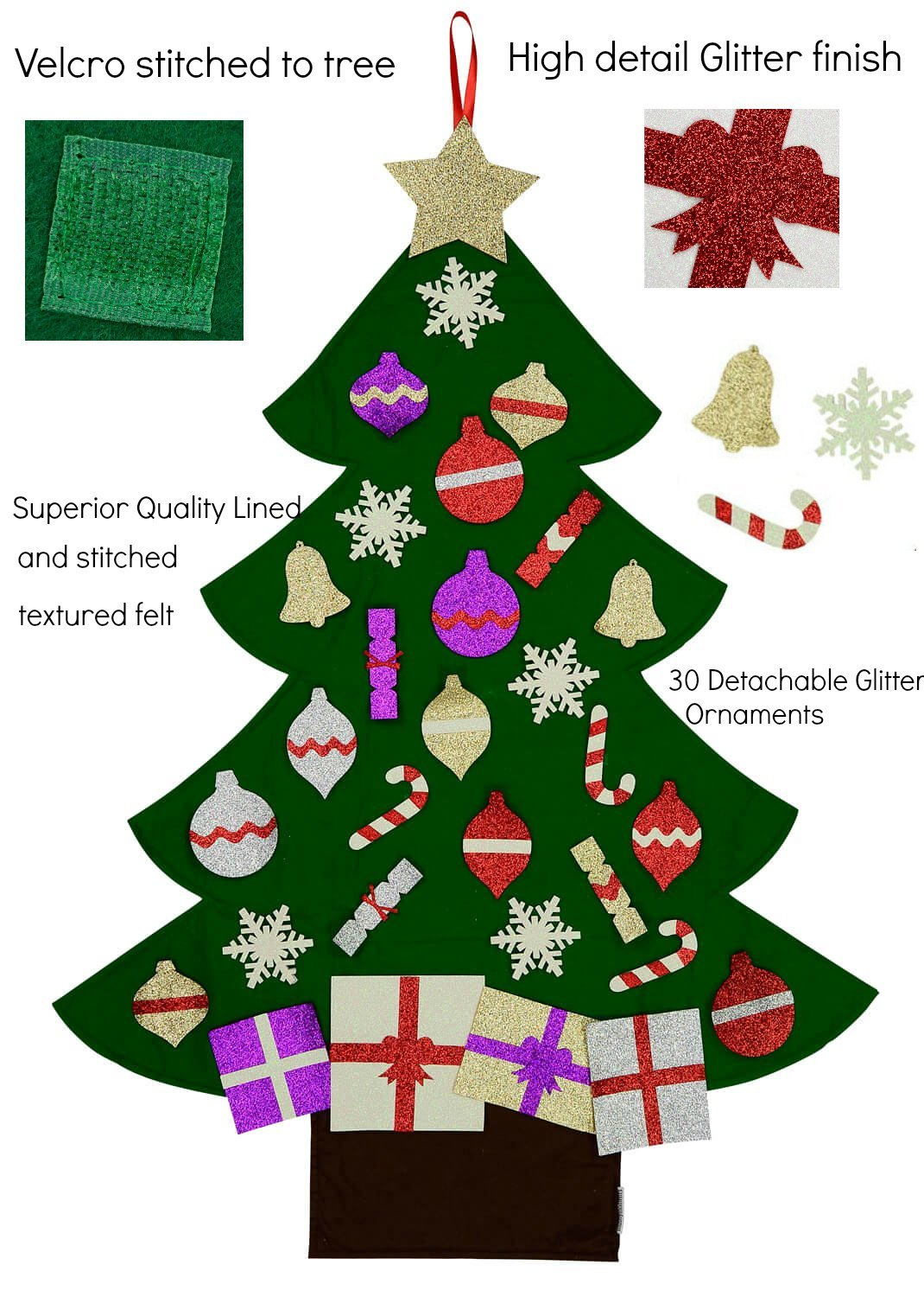amazoncom felt christmas tree for kids glitter edition 3ft wall or door hanging 30 detachable christmas ornaments kitchen dining