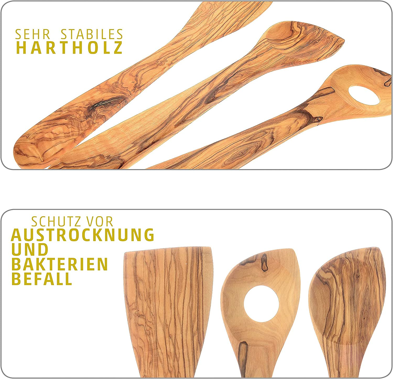 Olive Wood Kitchen Set of 3 by 4smile ǀ Turner Corner Spoon Stirring Spoon Made of 100/% Olive Wood ǀ Kitchen Utensils untreated Natural Products