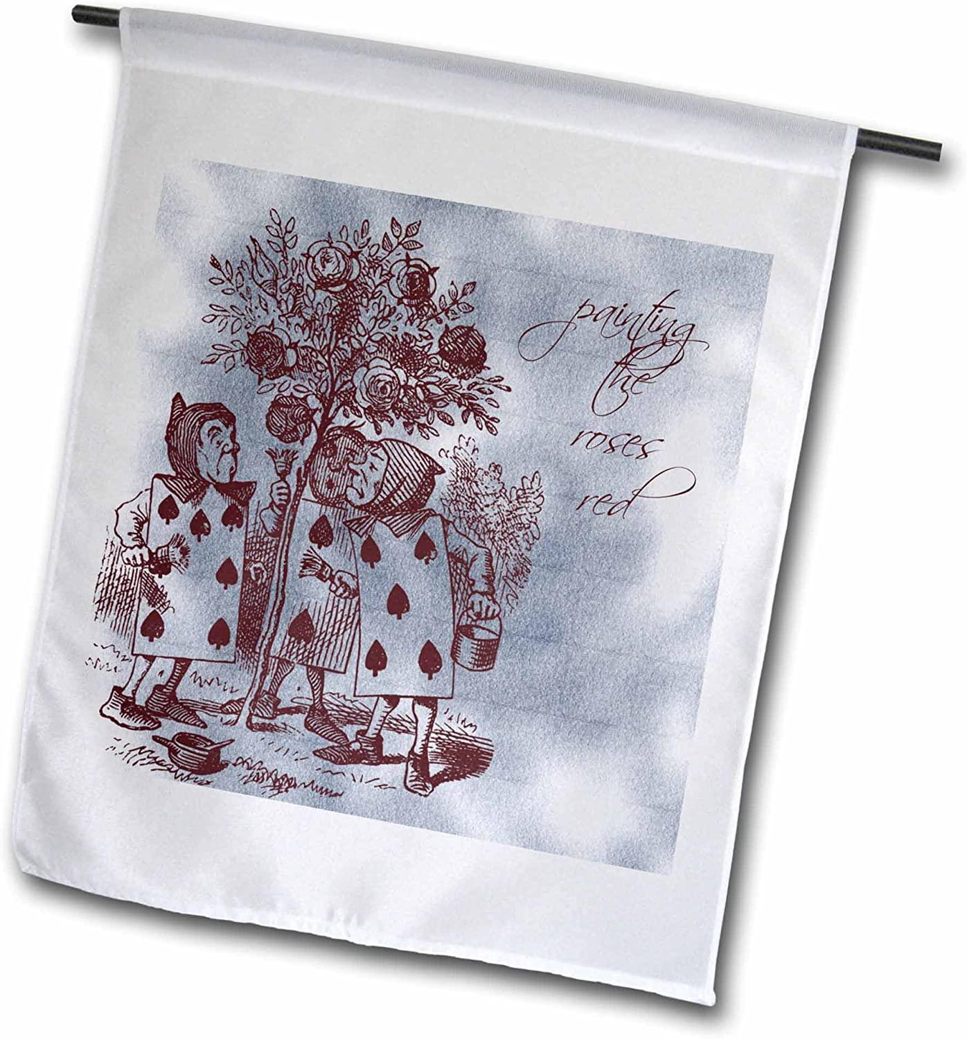 3dRose fl_99320_1 Vintage Alice in Wonderland Painting The Roses Red Garden Flag, 12 by 18-Inch