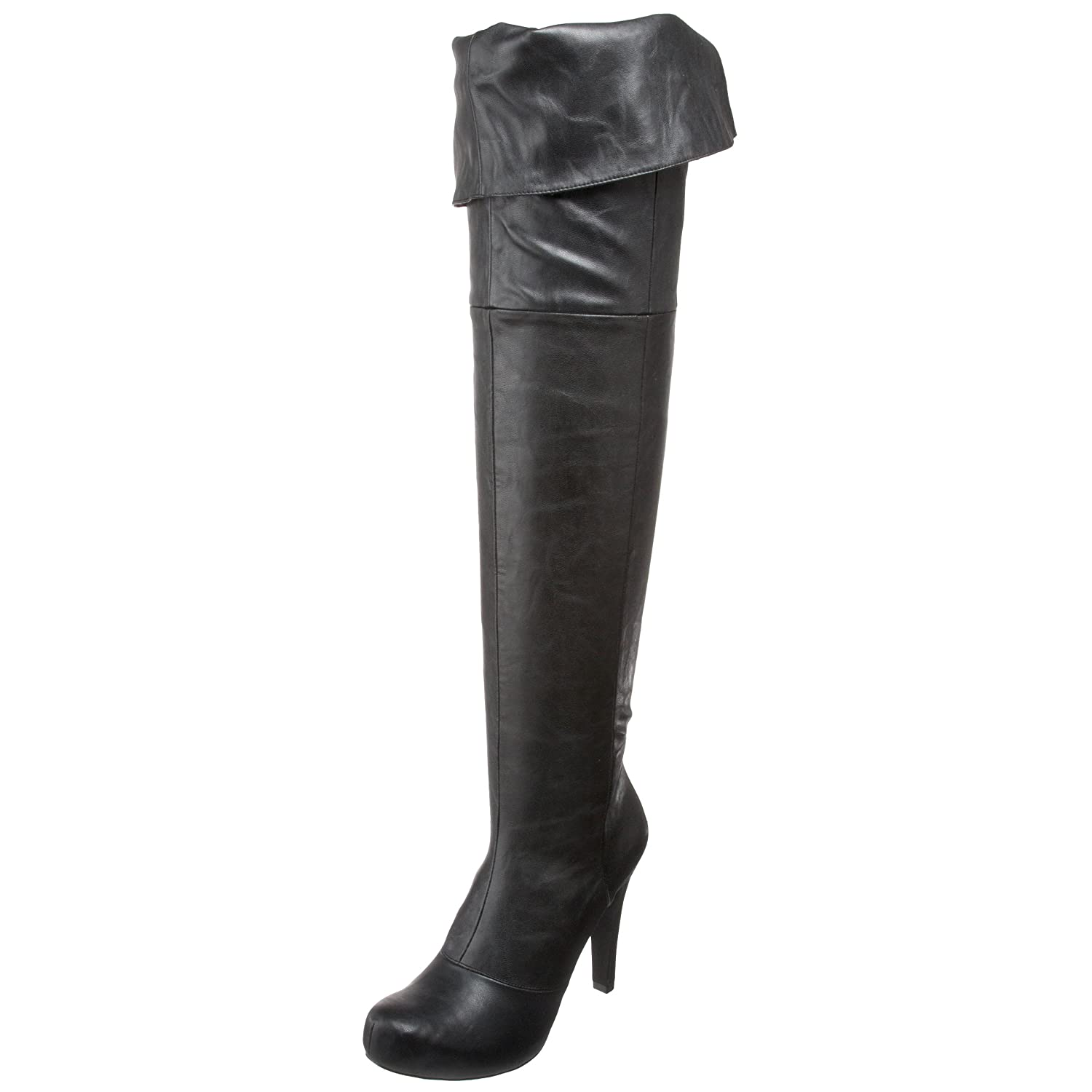 Women's Flashy Black Fold Over Faux Leather Boot