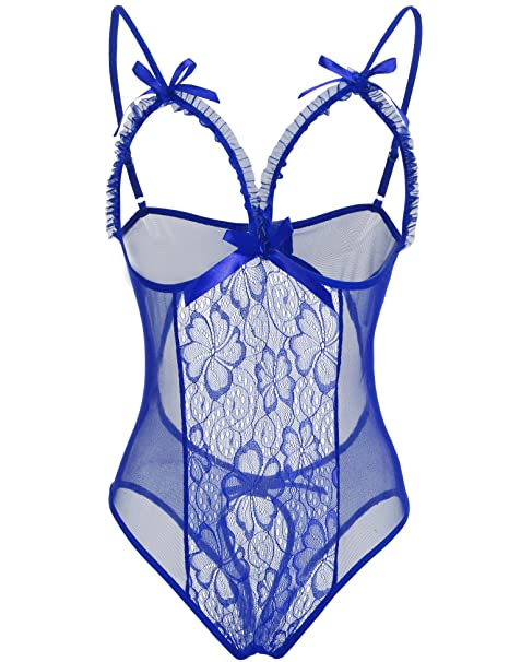 85532bd96f555 Amazon.com: BLUETIME Womens Lingerie Sheer Cupless Teddy Crotchless Lace  Bodysuits (S, Blue): Clothing