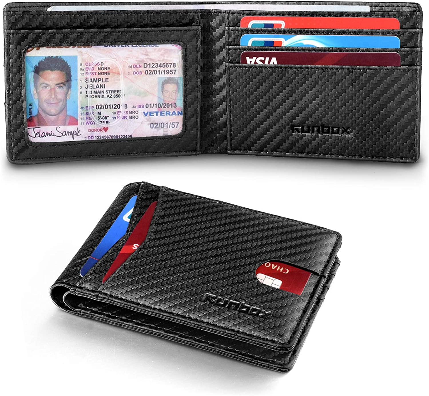 RUNBOX Slim Wallets for Men with RFID Blocking & Minimalist Mens Front Pocket Wallet Leather
