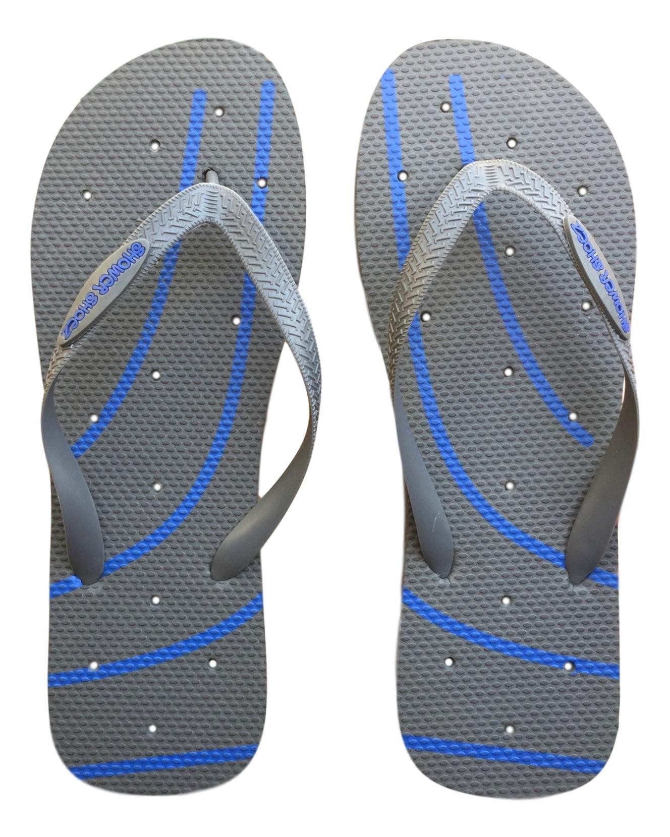 Shower Shoez Men's Antimicrobial Non-Slip Pool Dorm Water Sandals Flip Flops (XLarge 12/13, Grey/Blue) by Shower Shoez (Image #2)