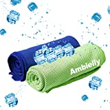 """Ambielly Cooling Towel for Instant Relief,2-Pack(40""""x12"""") Stay Cool Fitness Golf Ice Towels ,Ideal for Running Yoga Gym Travel Camping Biking Hiking Working & Outdoor Sports"""