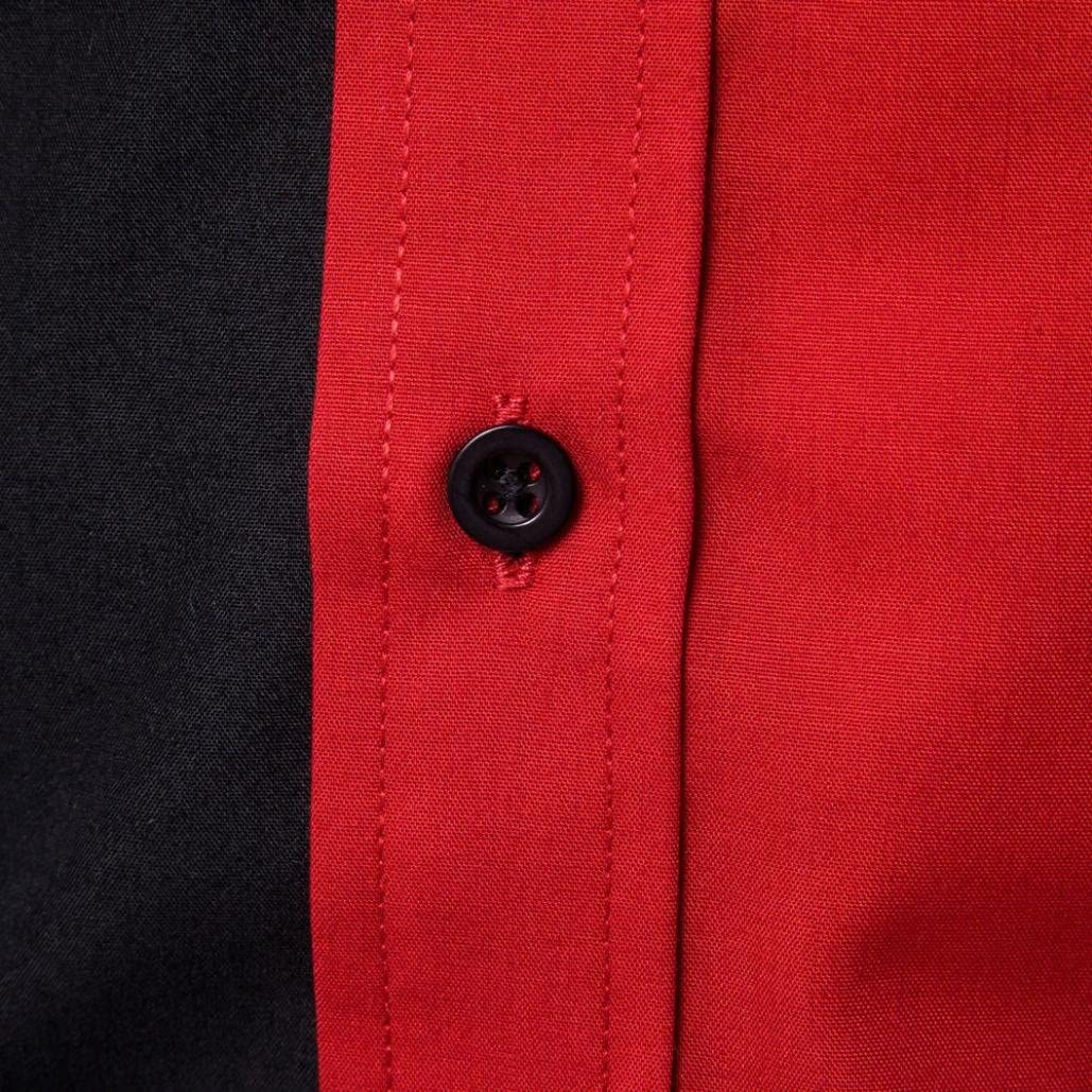 AIMEE7 Hommes Chemise Business /à Manches Longues Slim Fit Bloc de Couleur Chemise Funky Tops
