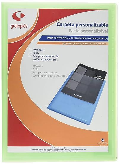 Grafoplas 1431521 - Carpeta de 20 fundas, tamaño folio, tapas PP, color verde claro: Amazon.es: Oficina y papelería