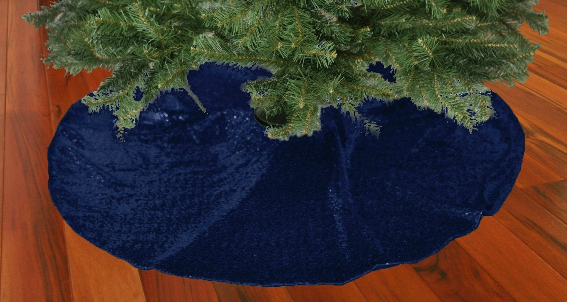 TRLYC 50-Inch Round Embroidery Sequin Christmas Tree Skirt --Navy Blue