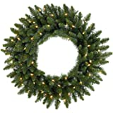 """Northlight 48"""" Pre-Lit Eastern Pine Artificial Christmas Wreath - Clear Lights"""