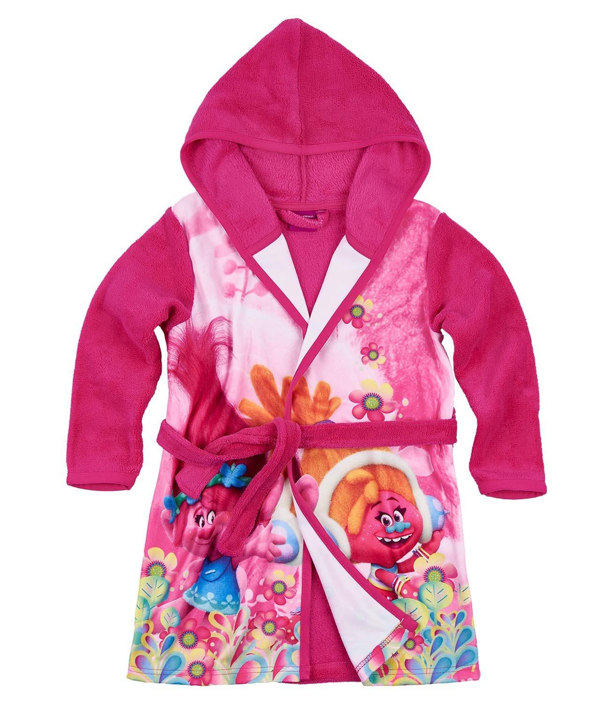 Trolls Girls Coral fleece Bathrobe with hood - fuchsia