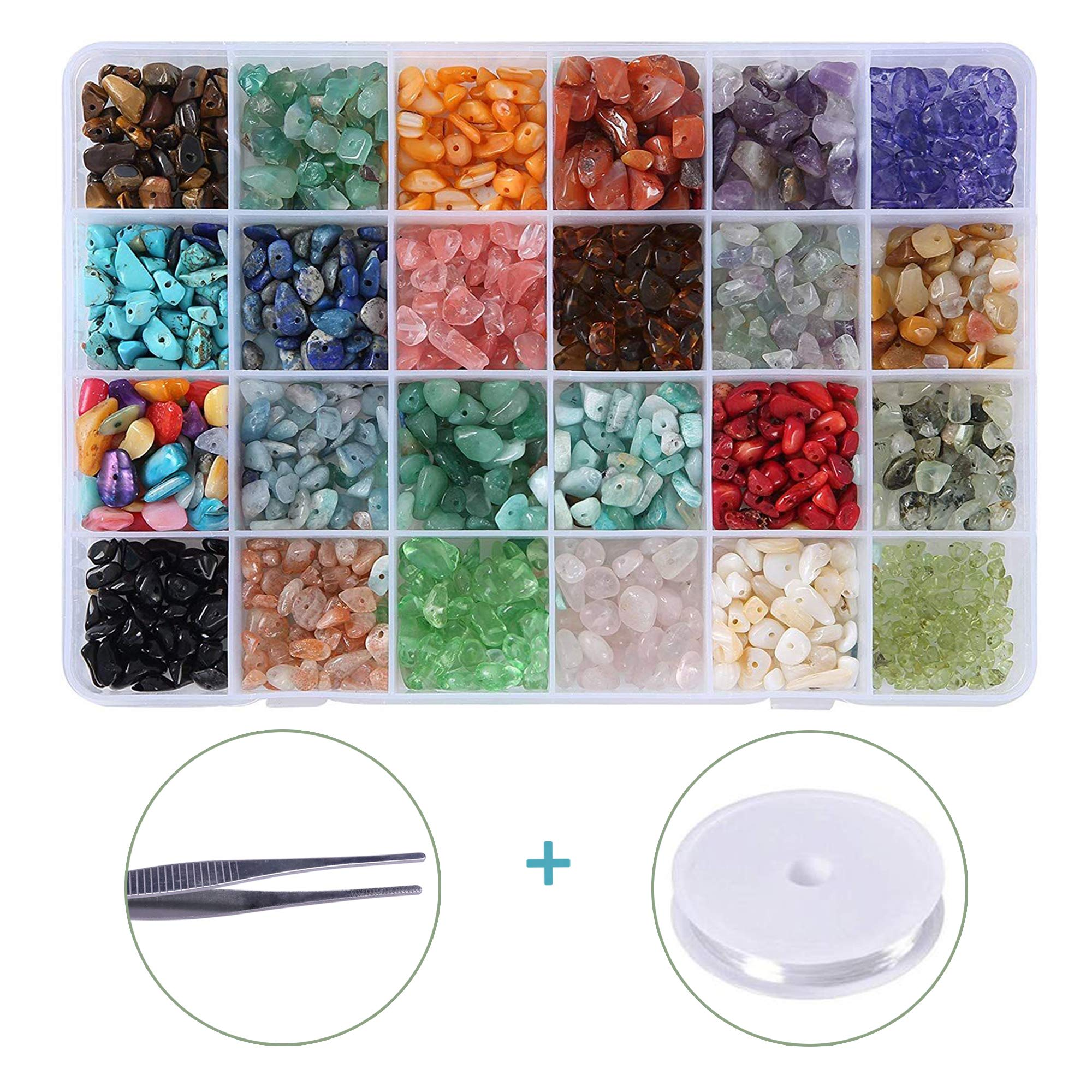 Efivs Arts 24 Stone Beads Natural Gemstone Beads Irregular Chips Stones Crushed Chunked Crystal Pieces Loose Beads for Jewelry Making Decor DIY Crafts Gift for Mother's Day