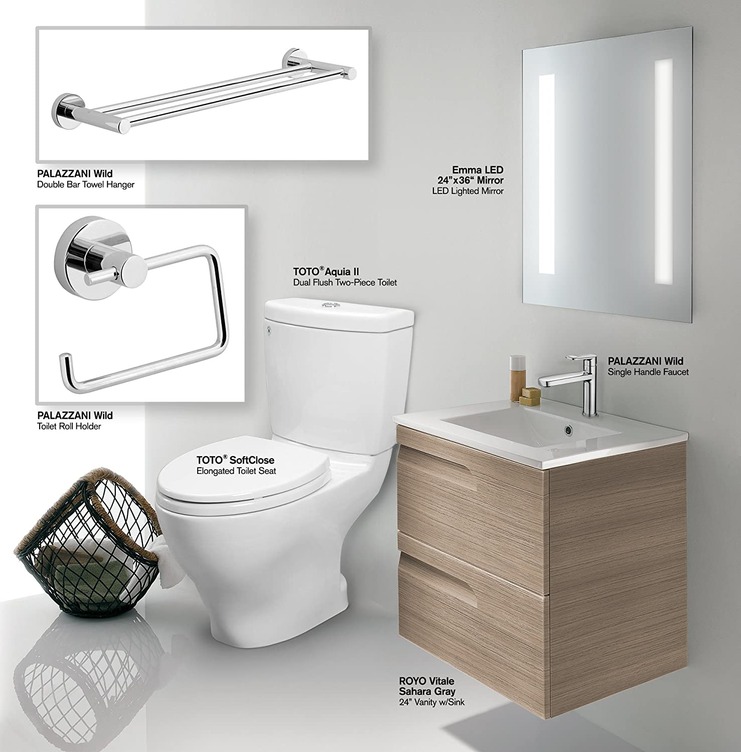 Amazon.com: Bathroom Vanity Set: INCLUDES: TOTO CST416M#01 Toilet ...