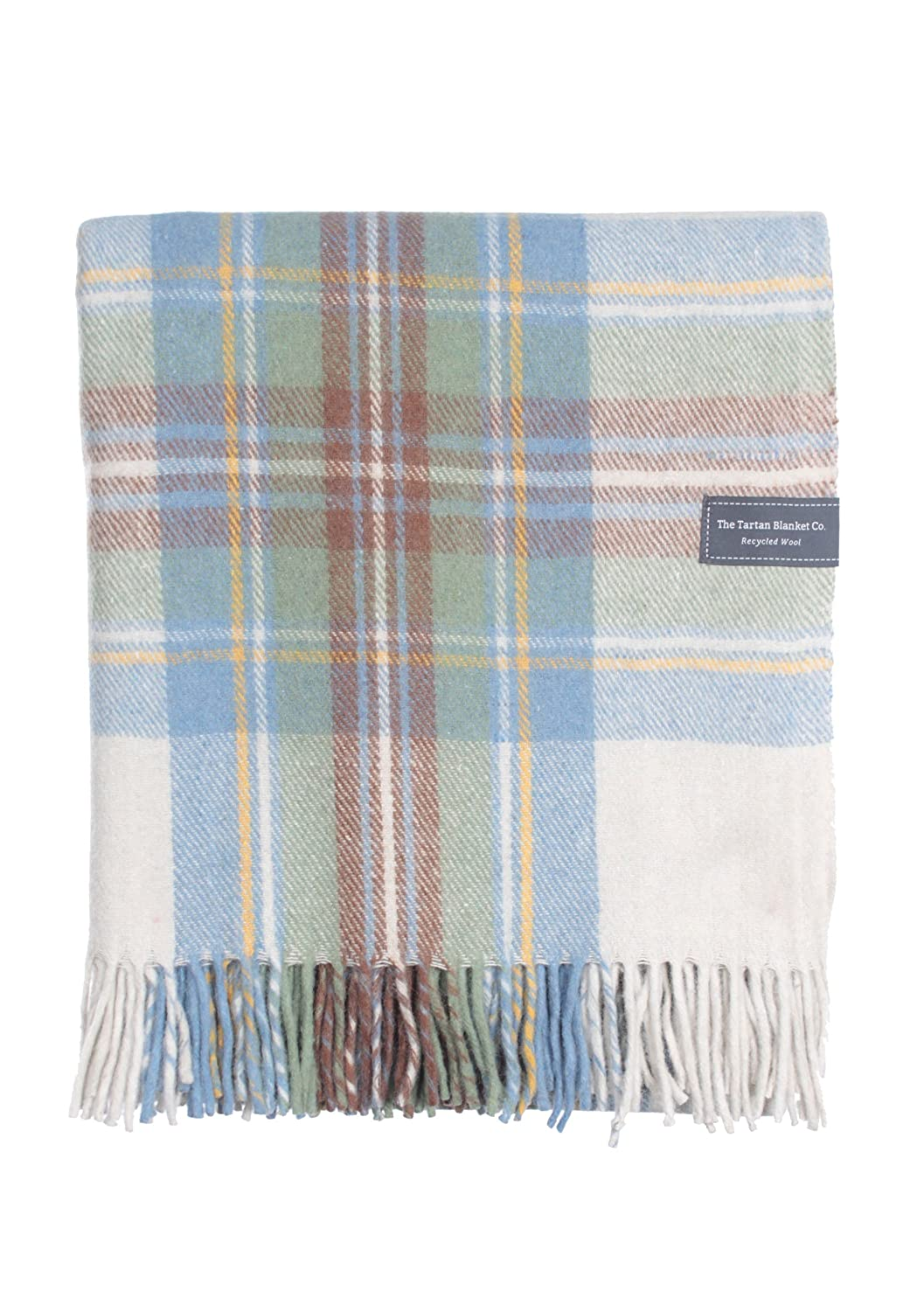 The Tartan Blanket Co. Couverture recyclée en laine – style tartan écossais Stewart Muted Blue