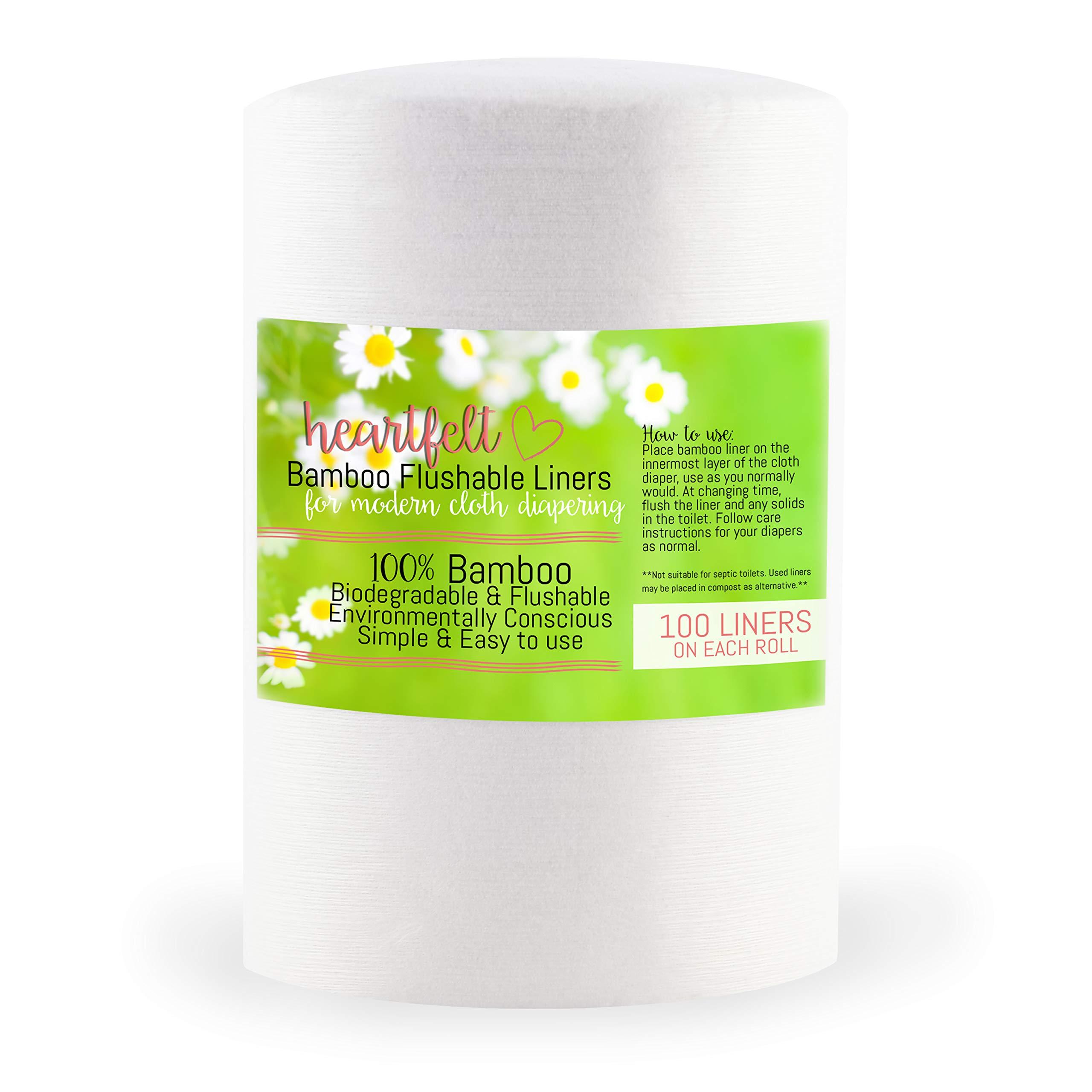 Heart Felt Cloth Diaper Liner Inserts (100 Sheets) Flushable, Disposable by Heart Felt