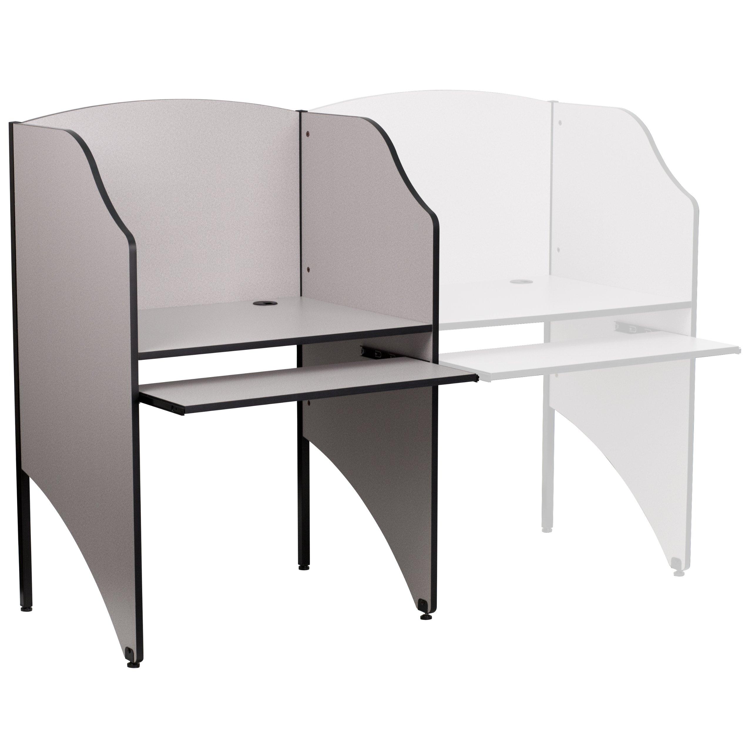 Flash Furniture Starter Study Carrel in Nebula Grey Finish by Flash Furniture