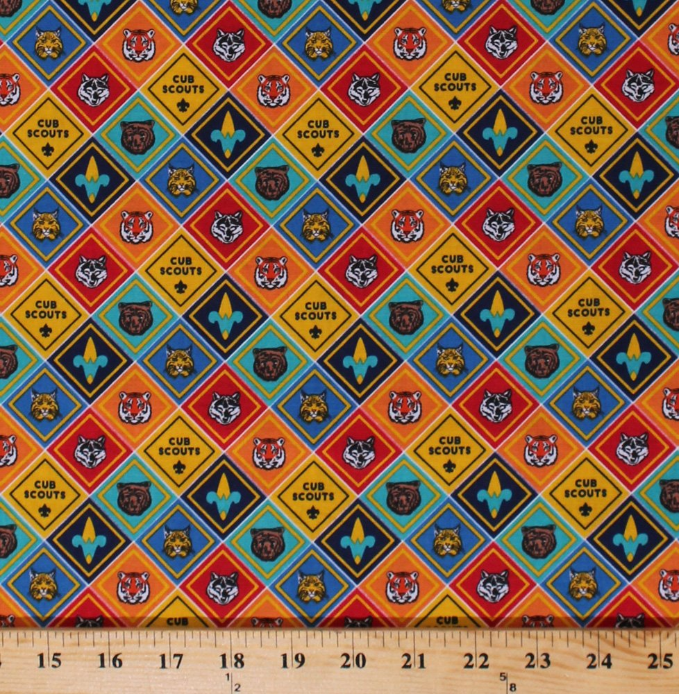 Cotton Cub Scouts Advancement Badges Patches Insignia Boy Scouts of America BSA Scouting Cotton Fabric Print by The Yard (C7204-Multi) by Field's Fabrics
